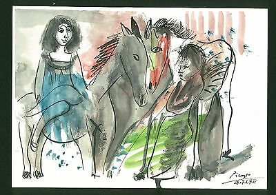 PABLO PICASSO - ink watercolor on original paper of 60's - musem quality!