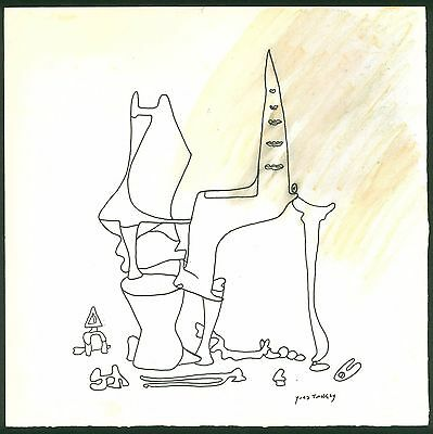YVES TANGUY - drawing on original paper of 40's - surrealism