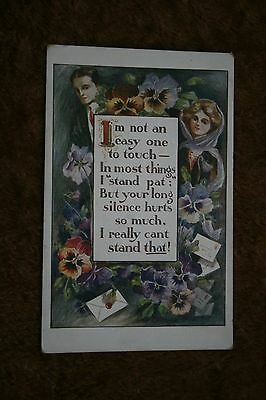 Old postcard with verse and coloured picture