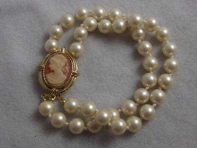 Erwin Pearl / P.e.p. Double Strand Faux Pearl Bracelet W/ Carved Cameo Clasp