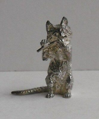 Garrard & Co Ld Sterling Silver Cat Orchestra Musician Playing Flute 1989