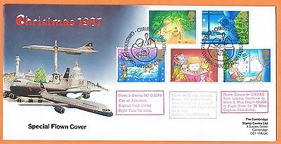 Great Britain 1987 Christmas fdc Concorde flown plus 2 other aircraft