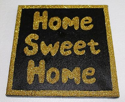 Black & Gold Glitter Home Sweet Home Canvas Wall Art Picture