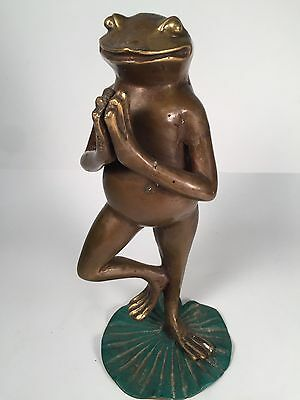 Bronze Prayer Meditation Yoga Frog Of Luck And Fortune On Lotus Leaf