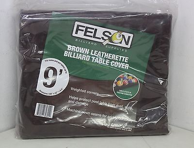 NEW FELSON SFELS-702 Brybelly 9Ft Brown Leatherette Billiard Pool Table Cover