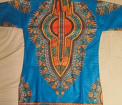 African Ghana Tribal Dashiki Kente Men's Shirt Blue Orange Small Medium