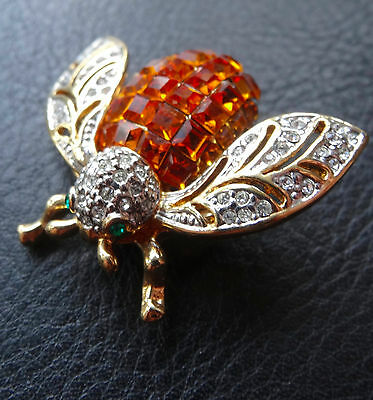 vintage amber clear rhinestone bee insect bug brooch gold tone c. 1980s -C230