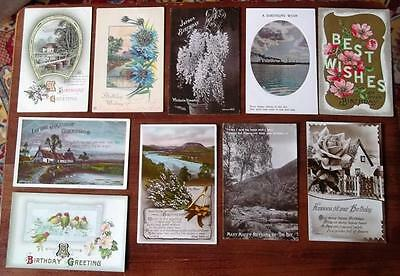 VINTAGE BIRTHDAY POSTCARDS,10 CARDS,c1910-30s