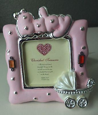 "Silver Spoon Baby Girl Pink Carriage Nursery Baby Shower Photo Frame 2""x2"" NEW"