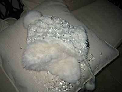 New Beautiful Cream & Silver Knitted Hat Faux Fur & Fleece Lined