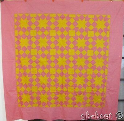 PA Mennonite c 1920s Double Touching Stars Antique QUILT Top Pink Yellow