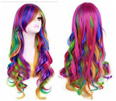 Fashion Women Rainbow Long Curly Wavy Hair Full Cosplay  Party Wig + Cap