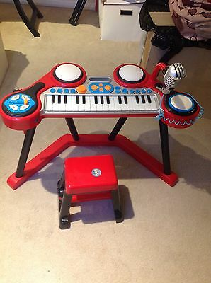 Childs Red Piano Keyboard Toy Musical Microphone Stool
