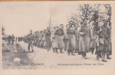 WWI POWs CAPTURED by GERMANY ~ RUSSIAN POWs BEING MARCHED OUT OF LIBAU
