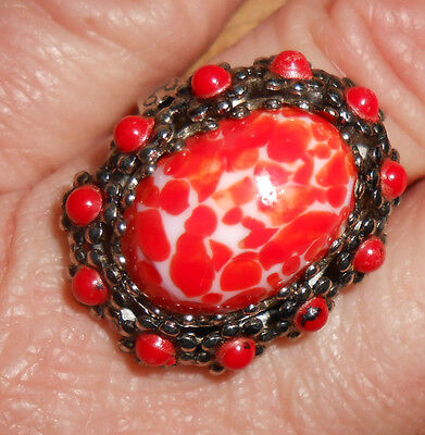 1950s RED PEKING GLASS Cabochon Ring, Adjustable Size
