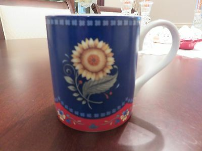 "Vera Bradley My Home EMILY Sunflower 3.5"" Coffee Tea Porcelain Mug EUC"