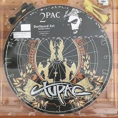 New 2 Pac Tupac Shakur Collectible Dart Board with 6 Darts Sealed in Plastic
