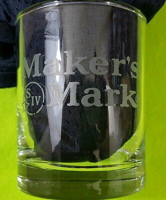 Clear Glass MAKERS MARK LOGO Rocks / Highball Whiskey Glass Excellent Condition