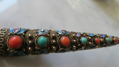 Chinese Silver Gilt Coral & Turquoise with Enamel Finger Guard Brooch