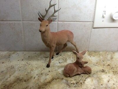 Vintage Flocked Deer with antlers and fawns