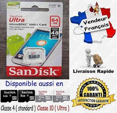 Carte Mémoire 48 MB/s SANDISK ULTRA CL10 ( Micro SDXC SDHC 64 32 16 8 4 Go Gb )