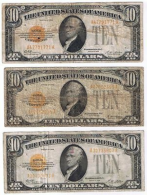 Us Lot Of 3 1928 Yellow Seal Gold  Certificate $10 Notes Fr#2400
