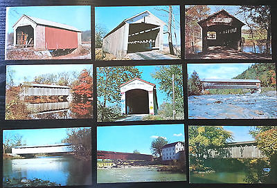 LOT x 9 postcards, OLD TRADITIONAL COVERED BRIDGES of AMERICA