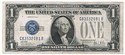Us 1928-B Blue Seal Silver Certificate Experimental Back $1 Note Fr#1602