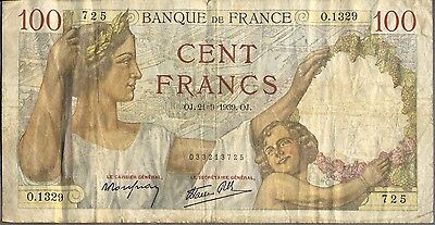 1939 100 Francs French Banknote [Fine]