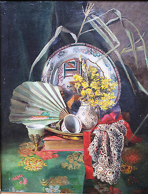Still life painting oil canvas 19th thentury signed japan porcelain 1881 art