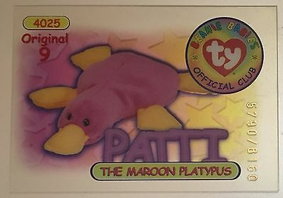 Patti the Platypus Original 9 TY Trading Beanie Card Series 1 5790/8160 Red