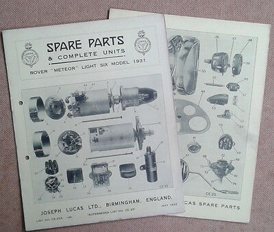 Rover Meteor Light Six  1931 models  Lucas Parts List 25A  Others available