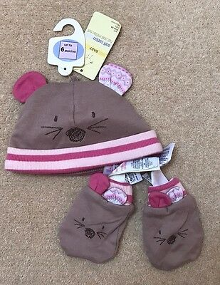MARKS AND SPENCER Baby Girl Hat & Gloves Set, Size Under 6 Months, New!!!
