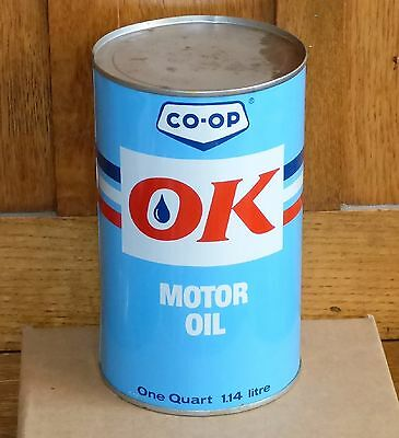 "Vintage rare Canadian CO-OP ""OK"" 1 Imperial Quart motor oil tin can"
