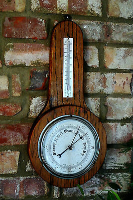 Vintage Oak Aneroid Barometer and Thermometer in Solid Wood, England, Large