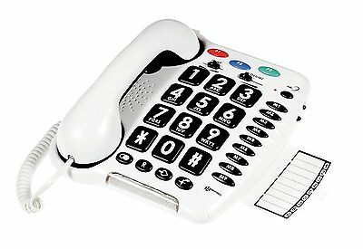 New Geemarc CL100 Loud Big Button Corded Hands Free Phone with Phonebook White