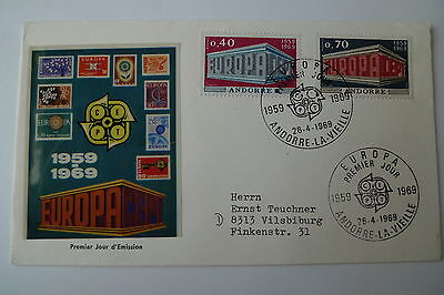 Europa Europe Andorra 1969 Set On Fdc Cover