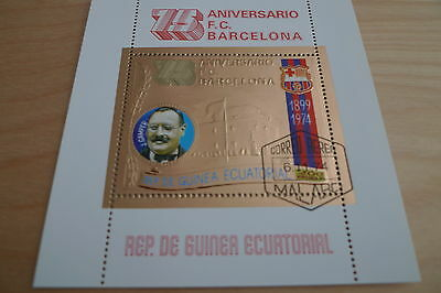 Guinea Soccer F.c. Barcelona Used Gold Plated Souvenir Sheet