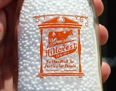 Nice HILLCREST DAIRY Leicester, MA pyro ACL round ½ pint milk bottle
