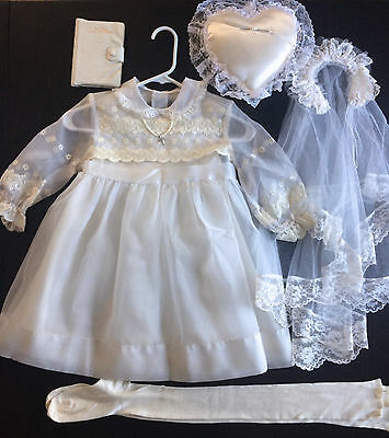 Vtg 1960s First Holy Communion Dress w/Double Veil, Tights, Pillow & Prayer Book