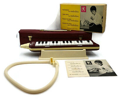 Vintage 70's HOHNER Melodica Piano 27 & Case with stand mouthpiece and extension