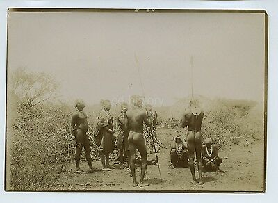 African Tribesmen In Clearing - Suku Tribe?- c1900s Photo
