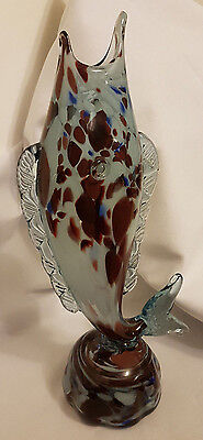 """Large Vintage Marbled Glass Murano Fish Ornament / vase 15"""""""