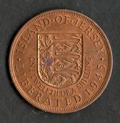 Jersey 1/12 of a Shilling (Penny) 1945 LIBERATION Unc with lustre