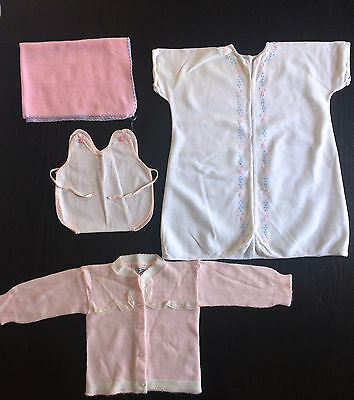 Lot of Assorted Vintage Baby Clothes, Blanket, Layette