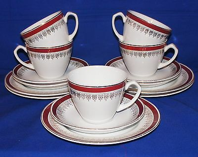 Set of FIVE Alfred Meakin Burgundy Red / Gold Glo-white Ironstone TRIO'S