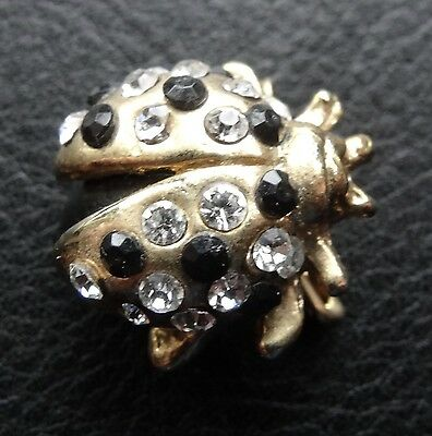 vintage clear & black rhinestone ladybird insect gold tone brooch c.1980s  -N17
