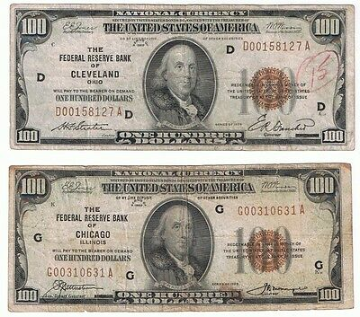 Us Lot 2 $100 1929 Federal Reserve Bank Of Chicago & Cleveland National Notes
