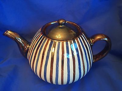 DANISH STUDIO POTTERY TEAPOT by RAS Hand Painted 6 CUP SIGNED MidCentury DENMARK