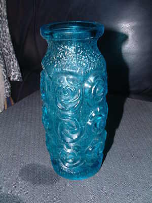 """BLUE PRESSED GLASS VASE ROSE in RELIEF DECORATION 7"""" tall BARK DECORATION"""
